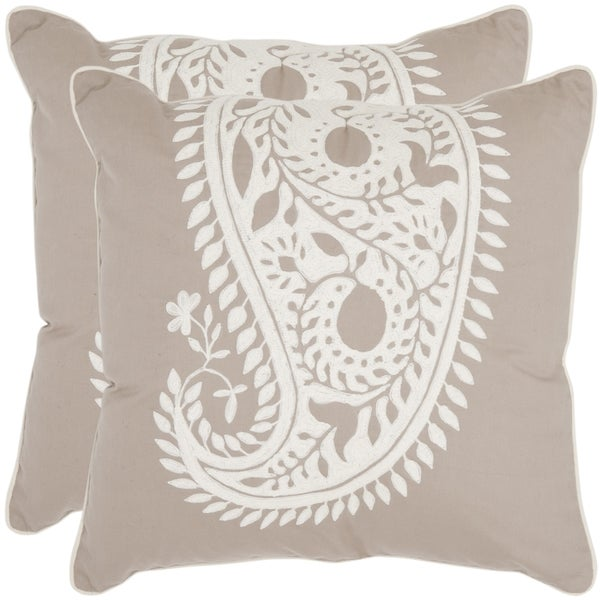 Safavieh Sweet Paisley 20-inch Beige/ Ivory Decorative Pillows (Set of 2)