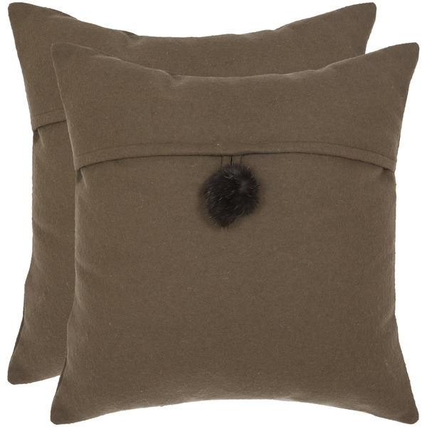 Safavieh Mosh 18-inch Brown Decorative Pillows (Set of 2)