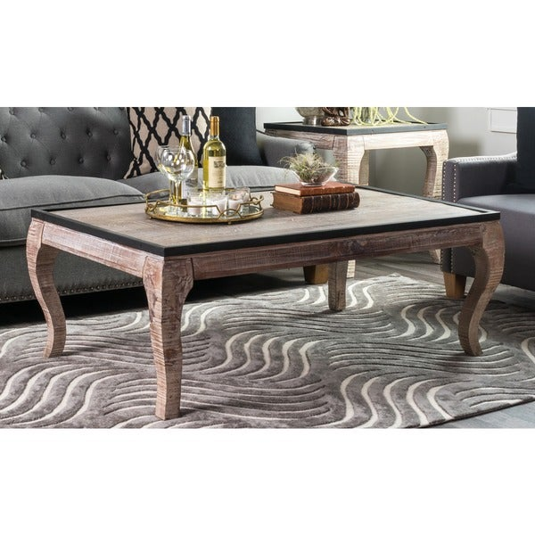 Cosmo Wood with Iron Trim Coffee Table