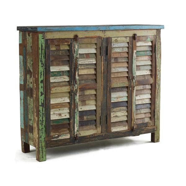 Kosas Home Vintage Shutter Doors Cabinet