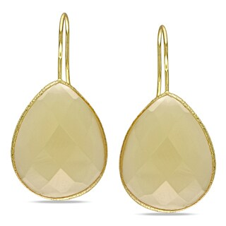 Miadora Yellow-plated Synthetic Gemstone Hook Earrings