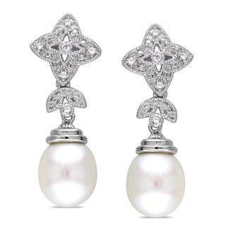 Miadora Sterling Silver Pearl and Diamond Accent Star Earrings (9-9.5 mm)