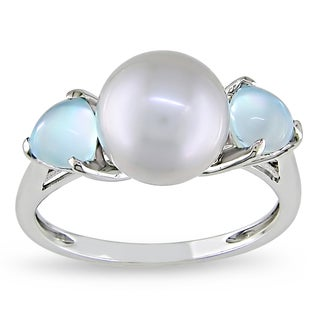 Miadora 10k White Gold Grey Cultured Freshwater Pearl and Blue Topaz Ring (9-9.5 mm)