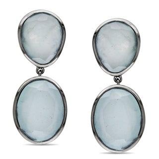 Miadora Sterling Silver Aquamarine Sea Foam Dangle Earrings