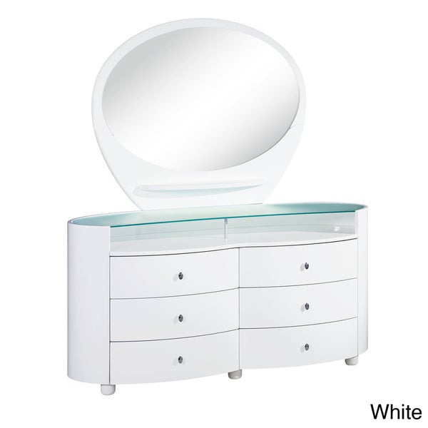 Emily/Evelyn High Gloss 6-drawer Dresser with Mirror