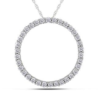 14k White Gold 1ct TDW Diamond Circle of Life Necklace (G-H, I1-I2)