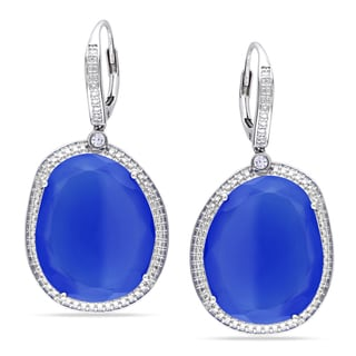 Miadora Sterling Silver Blue Chalcedony and Sapphire Dangle Earrings