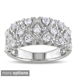 Miadora Silver Created White Sapphire or Black Spinel Ring