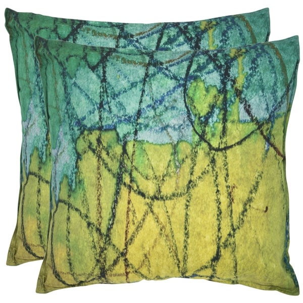 Safavieh Volos 20-inch Lemon Lime Green Decorative Pillows (Set of 2)