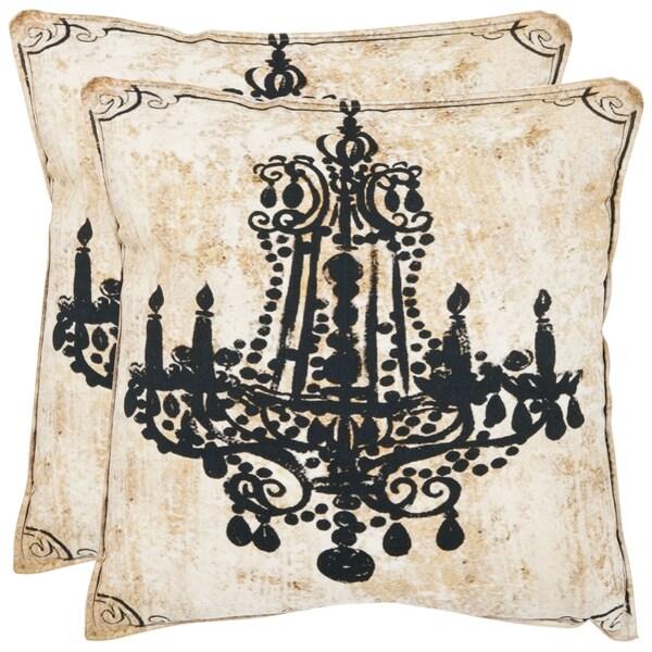 Safavieh Velleron 18-inch Antiqued Beige Decorative Pillows (Set of 2)