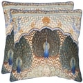 Raj Peacock 20-inch Ivory/ Purple Decorative Pillows (Set of 2)