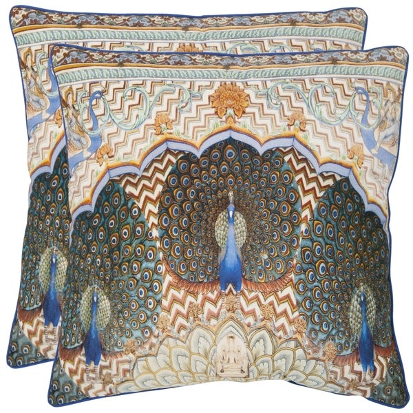 Safavieh Raj Peacock 18-inch Ivory/ Purple Decorative Pillows (Set of 2)
