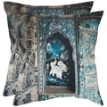 Adari 18-inch Turquoise/ Grey Decorative Pillows (Set of 2)