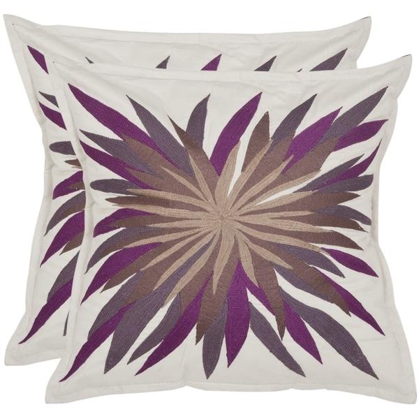 Safavieh Autumn 18-inch Ivory/ Purple Decorative Pillows (Set of 2)