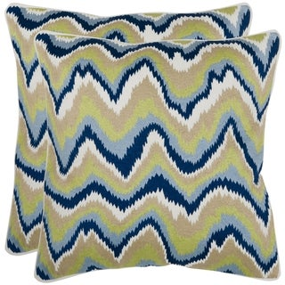 Bali 18-inch Blue/ Green/ White Decorative Pillows (Set of 2)