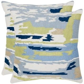 Safavieh Brewster 18-inch White/ Blue Decorative Pillows (Set of 2)