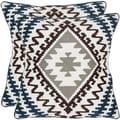 Safavieh Navajo 18-inch White/ Brown/ Blue Decorative Pillows (Set of 2)