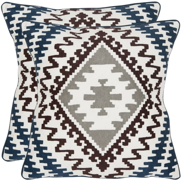 Safavieh Navajo 18-inch White/ Brown/ Blue Decorative Pillows (Set of 2)