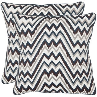 Highland 18-inch White /Brown/ Blue Decorative Pillows (Set of 2)