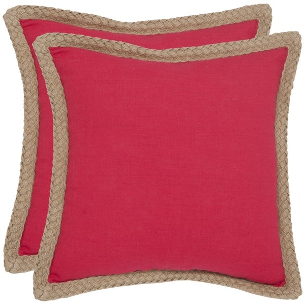 Safavieh Sweet Serona 18-inch Red Decorative Pillows (Set of 2)