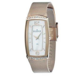 Skagen Women's Rose Goldtone Rectangular Crystal Accent Watch