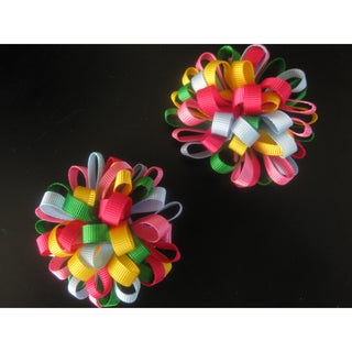Bobitty Boo Pair of Color Bright Loopy Loos Bow Clips