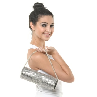 Silver Sequin and Metal Embroidery Crystal Accent Handbag (India)