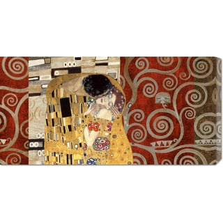 Klimt Patterns 'The Kiss Pewter' Stretched Canvas Art