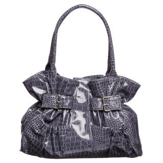 Valencia Blue Croc-embossed Shopper Handbag