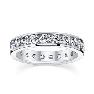 14k White Gold 2 3/8 to 2 3/4ct TDW Diamond Eternity Wedding Band (H-I, I1-I2)