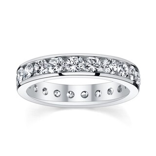 14k White Gold 2 3/8 to 2 3/4ct TDW Diamond Eternity Wedding Band (H-I, SI1-SI2)