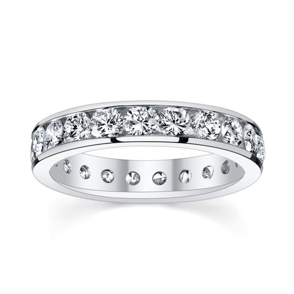 14k White Gold 2 to 2 1/3ct TDW Diamond Eternity Wedding Band (H-I, I1-I2)