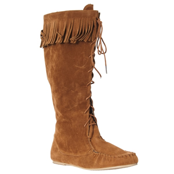 Riverberry Women's 'Friends' Chestnut Lace-up Fringe Boots