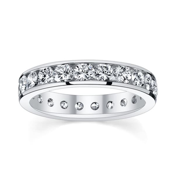 14k White Gold 2ct TDW Diamond Channel Eternity Wedding Band (H-I, SI1-SI2)