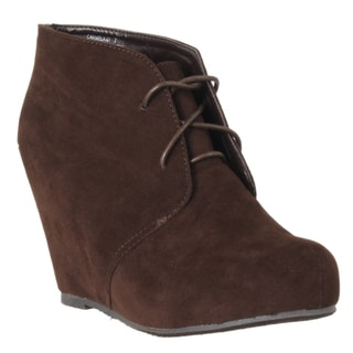 Riverberry Women's 'Carmela' Brown Microsuede Hidden Wedge Booties
