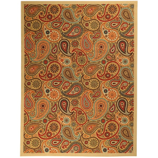 Printed Ottohome Paisley Beige Rug (3'3 x 4'6)