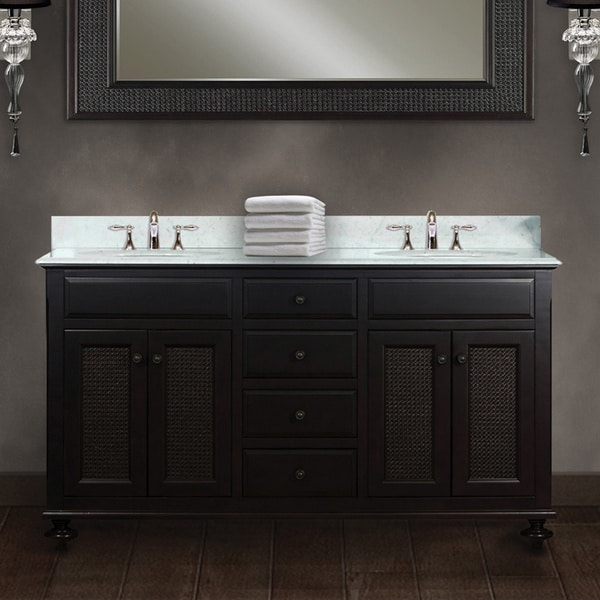 Water Creation London 60-inch Dark Espresso Double Sink Bathroom Vanity From the London Collection