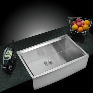 Water Creation SS-U-3321B 33 x 21 Zero Radius Single Bowl Stainless Steel Apron Front Kitchen Sink w/ Beveled Walls