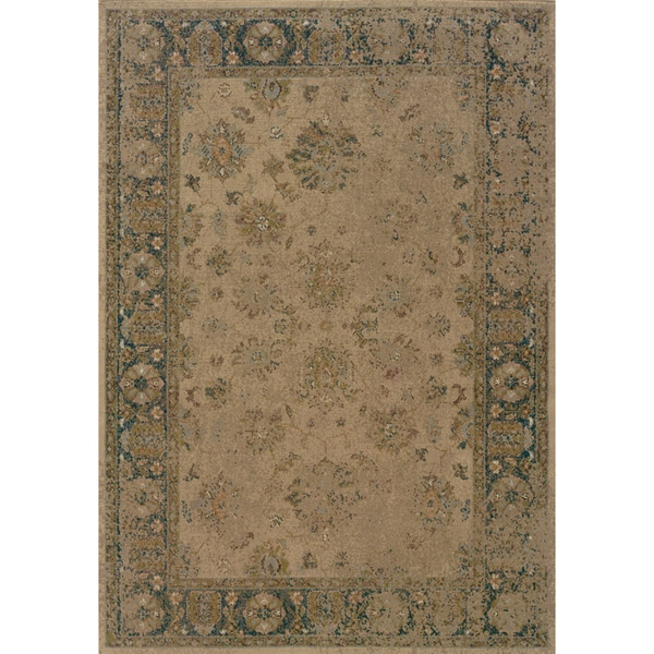 Traditional Indoor Beige-and-Blue Area Rug
