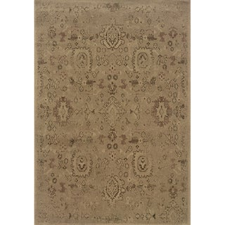Indoor Beige and Purple Area Rug
