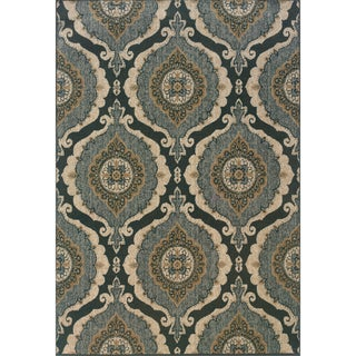 Indoor Blue and Ivory Area Rug
