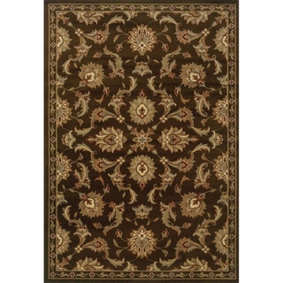 Indoor Brown and Green Oriental Area Rug