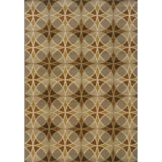 Geometric Indoor Blue and Beige Area Rug