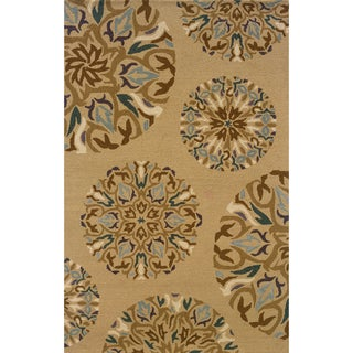 Hand-tufted Indoor Tan and Blue Wool Area Rug