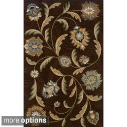 Hand-tufted Indoor Brown and Blue Wool Area Rug