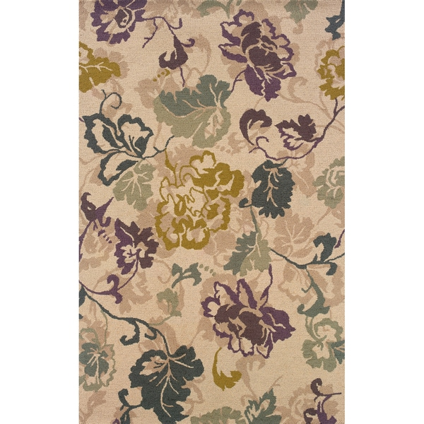 Hand-tufted Indoor Ivory and Purple Wool Area Rug