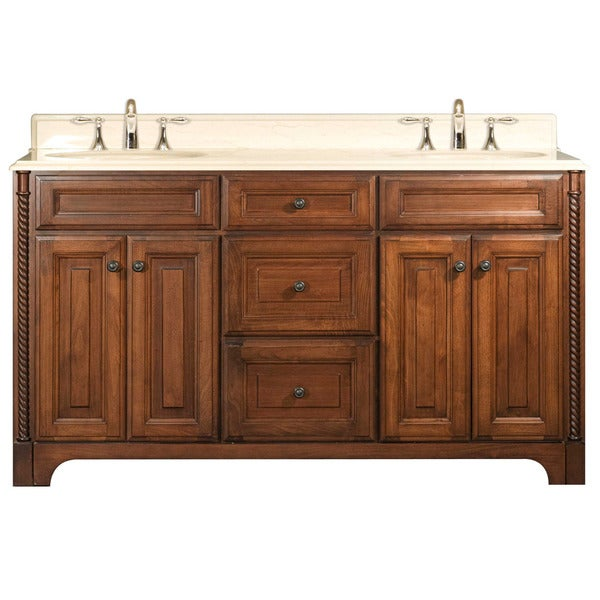 Water Creation Spain 60-inch Golden Straw Double Sink Bathroom Vanity From the Spain Collection