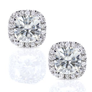 Annello 14k Gold Cushion Moissanite and 1/4ct TDW Diamond Earrings (G-H, I1-I2)