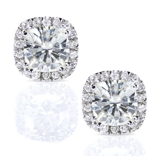 14k Gold Cushion Moissanite and 1/4ct TDW Diamond Earrings (G-H, I1-I2)