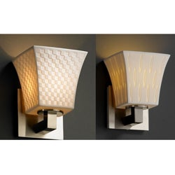 1-light Square Flared Brushed Nickel Porcelain Wall Sconce